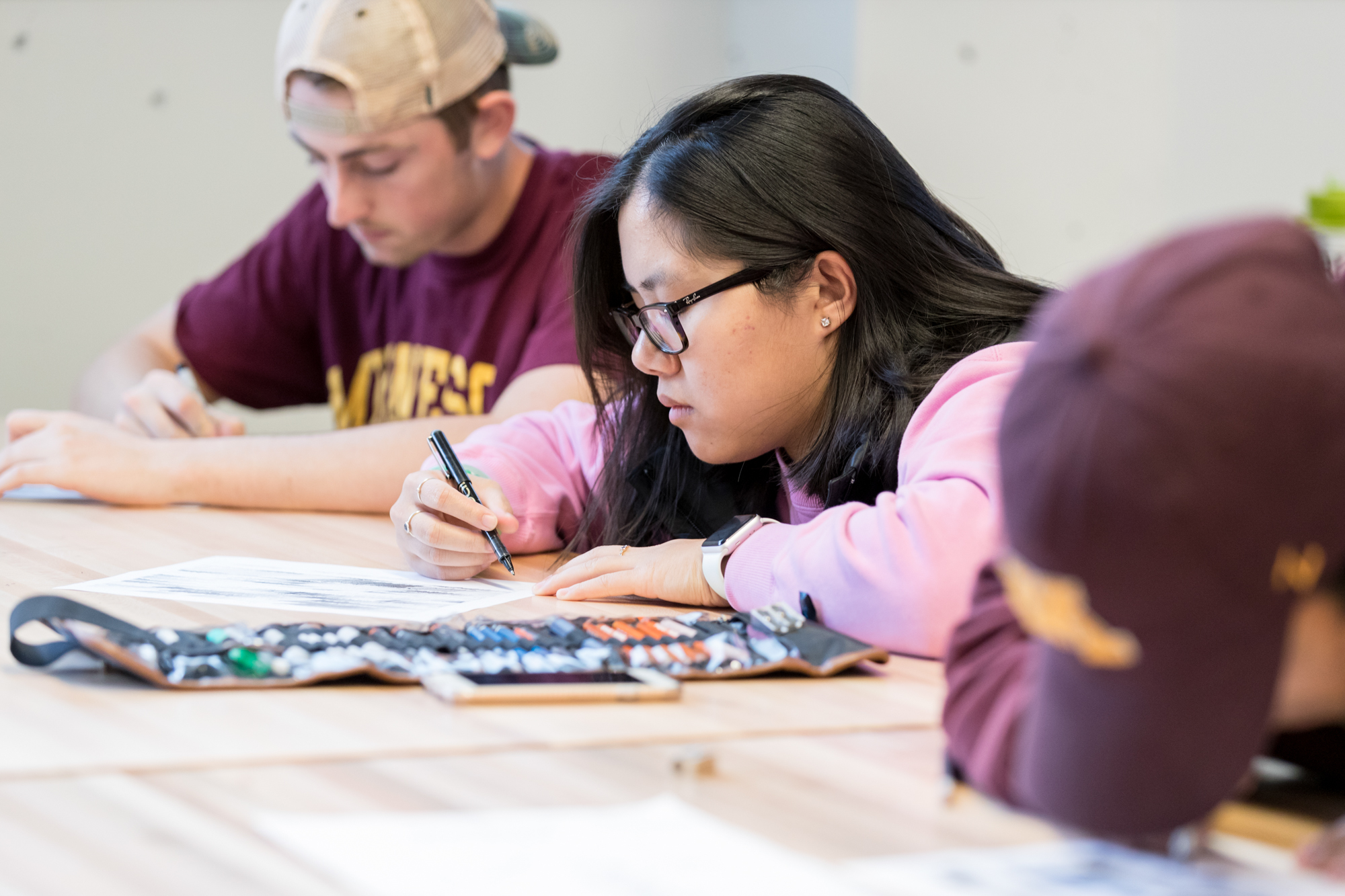 Landscape architecture students in drawing class